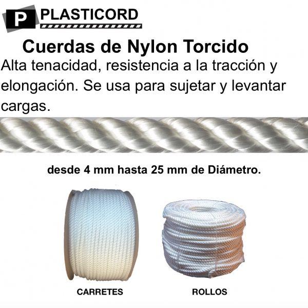 08 Cordeles y Cabos de Nylon Torcido, de 1,5mm a 25 mm. Alta resistencia.